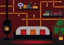 Żywy pokój z nowożytnym kominem ilustracja wektor