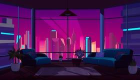 Żywy pokój z panoramicznym okno, wygodny mieszkanie ilustracji