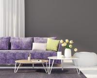 Żywy pokój z purpurową kanapą ilustracja wektor