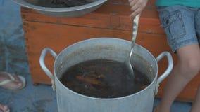 Żywy rakowy złapany w rzece gotuje w arge aluminiowej niecce w na wolnym powietrzu Kobieta stawia koperu w rondlu i słonej wodzie zbiory