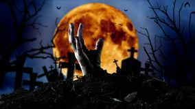 Żywy trup ręka wynika grób i nietoperze latają Cmentarza tło ilustracji