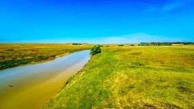 Żyzna ziemia uprawna otacza Klipriver blisko miasteczka Standarton w Mpumalanga zdjęcie stock