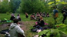 Žytomyr, Ucraina - 15 giugno 2018: La gente che gioca musica alla foresta stock footage