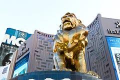Άγαλμα λιονταριών στο μεγάλο ξενοδοχείο χαρτοπαικτικών λεσχών του Λας Βέγκας MGM στο Las Vegas Strip Στοκ εικόνες με δικαίωμα ελεύθερης χρήσης