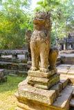 Άγαλμα λιονταριών στο ναό Angkor Wat σύνθετο Στοκ φωτογραφία με δικαίωμα ελεύθερης χρήσης