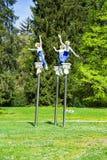 Άγαλμα μουσών από το δασικό ελατήριο - σταθμεύστε στη μικρή δυτική Bohemian spa πόλη Marianske Lazne Marienbad - Δημοκρατία της Τ Στοκ Εικόνα