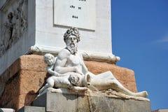 Άγαλμα Ποσειδώνα στην πηγή Plaza de Oriente στη Μαδρίτη Στοκ Εικόνες