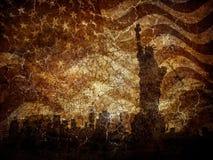 άγαλμα σκιαγραφιών ελευθερίας Στοκ Εικόνες
