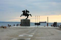 Άγαλμα του Μεγαλέξανδρου στην πόλη Θεσσαλονίκης στην Ελλάδα Στοκ Φωτογραφίες