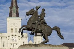 Άγαλμα του Τζάκσον και καθεδρικός ναός του Σαιντ Λούις Στοκ Φωτογραφία