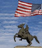 Άγαλμα του Andrew Τζάκσον και αμερικανική σημαία, Νέα Ορλεάνη Στοκ Εικόνα