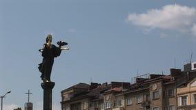 Άγαλμα του ST Sofia κεντρικός η πρωτεύουσα της Βουλγαρίας, Sofia απόθεμα βίντεο