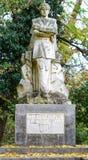 Άγαλμα Mihai Eminescu στο βοτανικό κήπο του νομού Macea - Arad, Ρουμανία Στοκ Εικόνα