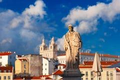 Άγαλμα Αγίου Vincent, ο προστάτης Άγιος της Λισσαβώνας Στοκ Εικόνες