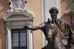 Άγαλμα αλόγων χαλκού του ρωμαϊκού αυτοκράτορα Marcus Aurelius στο Κάπιτολ Χιλλ Στοκ φωτογραφίες με δικαίωμα ελεύθερης χρήσης