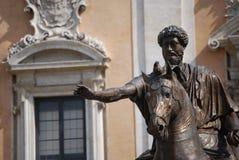Άγαλμα αλόγων χαλκού του ρωμαϊκού αυτοκράτορα Marcus Aurelius στο Κάπιτολ Χιλλ Στοκ εικόνα με δικαίωμα ελεύθερης χρήσης