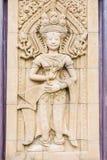 Άγαλμα γλυπτικών Apsara στον τοίχο, καμποτζιανή τέχνη Στοκ Εικόνες