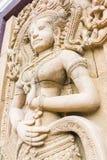 Άγαλμα γλυπτικών Apsara στον τοίχο, καμποτζιανή τέχνη Στοκ Εικόνα