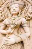 Άγαλμα γλυπτικών Apsara στον τοίχο, καμποτζιανή τέχνη Στοκ εικόνα με δικαίωμα ελεύθερης χρήσης