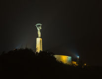 Άγαλμα ελευθερίας τη νύχτα στη Βουδαπέστη Στοκ Φωτογραφίες