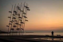 Άγαλμα ομπρελών στο ηλιοβασίλεμα, Θεσσαλονίκη, Ελλάδα Στοκ φωτογραφία με δικαίωμα ελεύθερης χρήσης