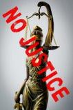 Άγαλμα της δικαιοσύνης - μην υπογράψτε καμία δικαιοσύνη Στοκ Εικόνα