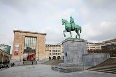 Άγαλμα του βασιλιά Αλβέρτος I Mont des Arts στις Βρυξέλλες Στοκ φωτογραφία με δικαίωμα ελεύθερης χρήσης