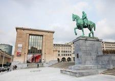 Άγαλμα του βασιλιά Αλβέρτος I Mont des Arts στις Βρυξέλλες Στοκ Φωτογραφίες