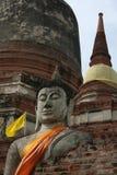 Άγαλμα του Βούδα στο ιστορικό πάρκο Ayutthaya Στοκ εικόνα με δικαίωμα ελεύθερης χρήσης