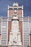 Άγαλμα του Miguel de Θερβάντες στη Μαδρίτη, Ισπανία Στοκ Εικόνα