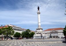 Άγαλμα του Pedro LV, Rossio, Λισσαβώνα, Πορτογαλία Στοκ φωτογραφία με δικαίωμα ελεύθερης χρήσης