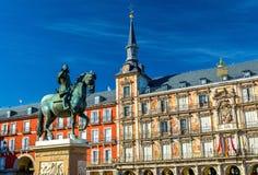 Άγαλμα του Philip ΙΙΙ στο δήμαρχο Plaza στη Μαδρίτη, Ισπανία Στοκ φωτογραφία με δικαίωμα ελεύθερης χρήσης