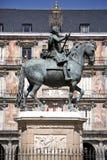 Άγαλμα του Philip ΙΙΙ στο plaza δημάρχου στη Μαδρίτη Στοκ Εικόνες