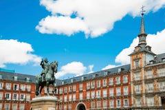 Άγαλμα του Philip ΙΙΙ στο plaza δημάρχου στο κέντρο της Μαδρίτης Spai Στοκ φωτογραφίες με δικαίωμα ελεύθερης χρήσης