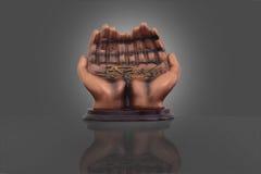 Άγαλμα των χεριών με τη σεναριογραφία του Αλλάχ Στοκ Εικόνα
