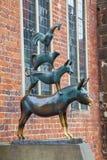Άγαλμα χαλκού πόλης μουσικών της Βρέμης, Βρέμη, Γερμανία στοκ φωτογραφία