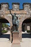 Άγαλμα Antoninus Pius ενώπιον του προϊσταμένου του ρωμαϊκού kastell Saalburg κοντά στη Φρανκφούρτη, Γερμανία Στοκ Εικόνες