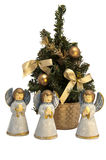 άγγελοι γύρω από το χριστουγεννιάτικο δέντρο Στοκ Εικόνες