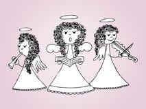 Άγγελοι που τραγουδούν και που παίζουν τα κάλαντα ελεύθερη απεικόνιση δικαιώματος