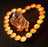 Άγγελος σε ένα διαμορφωμένο καρδιά πλαίσιο του καψίματος των κεριών Στοκ φωτογραφία με δικαίωμα ελεύθερης χρήσης