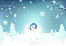 Άγγελος, χαριτωμένος χαρακτήρας, Χαρούμενα Χριστούγεννα, ευχετήρια κάρτα, πτώση χιονιού απεικόνιση αποθεμάτων