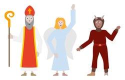 Άγγελος, διάβολος και Άγιος Nicholaus απεικόνιση αποθεμάτων