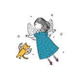 Άγγελος και γάτα κινούμενων σχεδίων Στοκ εικόνα με δικαίωμα ελεύθερης χρήσης