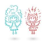 Άγγελος κοριτσιών και διανυσματικό σύνολο απεικόνισης διαβόλων Στοκ Εικόνα
