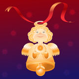 Άγγελος-κουδούνι μπλε κόκκινο ανασκόπησης Διανυσματική απεικόνιση