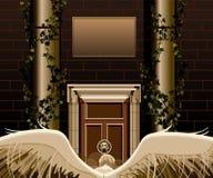 Άγγελος με τα φτερά που στέκονται μπροστά από μια πόρτα απεικόνιση αποθεμάτων