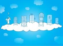 Άγγελος που επιλέγει ποια πόρτα ουρανού στον κτύπο απεικόνιση αποθεμάτων