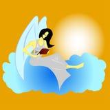 Άγγελος που διαβάζει ένα βιβλίο Διανυσματική απεικόνιση