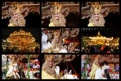 Άγγελος της Νυρεμβέργης Christkind - σύμβολο της αγοράς Χριστουγέννων Κολάζ με Christkind Τερέζα στοκ εικόνες