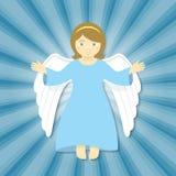 Άγγελος Χριστουγέννων πετάγματος με τις ανοικτές αγκάλες Στοκ Εικόνες